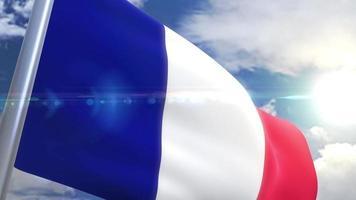 Waving flag of France Animation