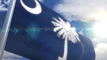 Waving flag of the state of South Carolina USA