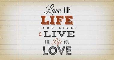 liebe das Leben, das du lebst, zitiere Vintage-Animation