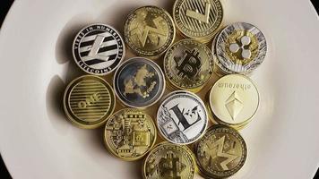 Rotating shot of Bitcoins (digital cryptocurrency) - BITCOIN MIXED 001