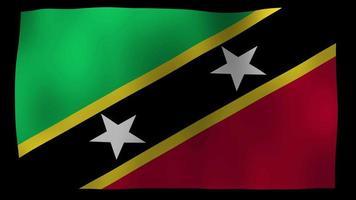 Saint Kitts and Nevis Flag 4K Motion Loop Stock Video