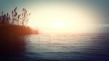 Mañana brumosa en el mar temperamental con cielo nublado y sol sombrío