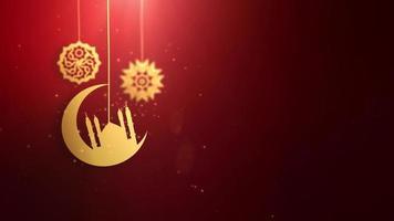Ramadán ramazan eid mubarak símbolos árabes cayendo sobre una cuerda fondo rojo