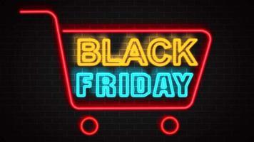 banner neon preto de venda sexta-feira video