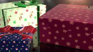 animation de cadeau de Noël anniversaire bleu rouge et vert video