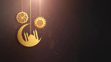 Ramadán ramazan eid mubarak símbolos árabes cayendo sobre una cuerda fondo negro
