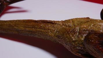 Un pato ahumado completo sobre una superficie blanca con un fondo rojo - pato ahumado 020