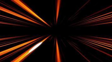 rayos láser naranja que se desvanecen y se mueven desde la parte superior e inferior de la escena