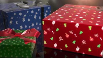 animação de presente de aniversário de natal azul vermelho e verde video