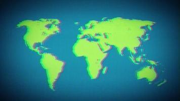 wereldaarde kaart op vintage oude televisiescherm video