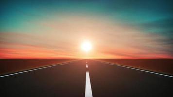 Fondo de viaje por carretera en el bucle al atardecer