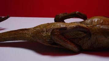 un pato ahumado completo sobre una superficie blanca con un fondo rojo - pato ahumado 004