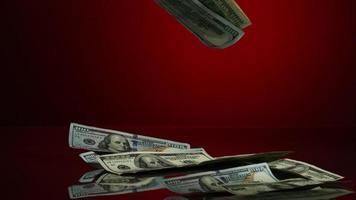 banconote da $ 100 americane che cadono su una superficie riflettente - fantasma di denaro 065