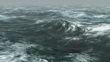 ondas tempestuosas do oceano rolam na névoa