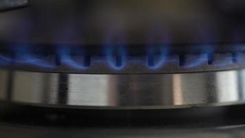 quemador de gas con fuego azul video