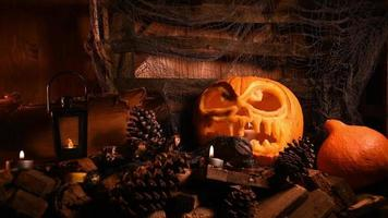 Halloween Pumpkin With Wooden Background And Misty Smoke