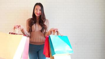 Young Woman With Shopping Bags video