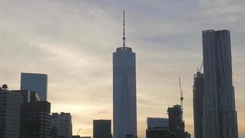 New York's One World Trade Center At Dusk 4k video