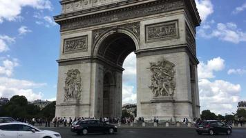 a rotatória do arco do triunfo em paris, frança, 4k