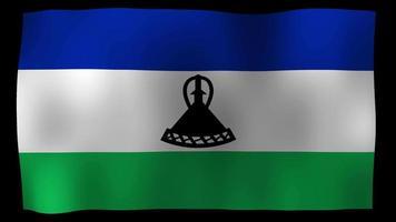 vídeo de stock de bucle de movimiento de 4k de bandera de lesotho