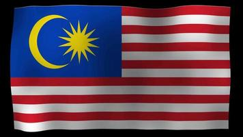 Video de stock de bucle de movimiento de 4k de bandera de Malasia