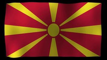 vídeo de stock de bucle de movimiento 4k de bandera de macedonia