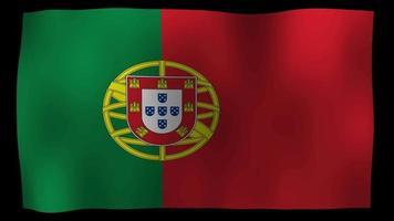 estoque de loop de movimento da bandeira de portugal 4k