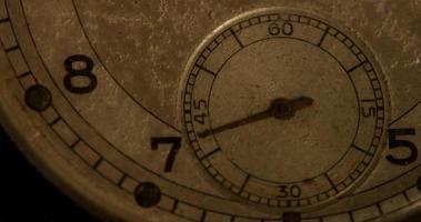 close-up extremo do ponteiro do relógio de segundos movendo-se sessenta segundos, começando nos segundos 40 em um lapso de tempo de 4k