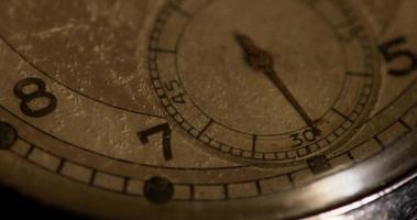 Primer plano extremo de la manecilla del reloj de segundos que se mueve un minuto diez segundos, comenzando en el segundo 25 en un lapso de tiempo de 4k