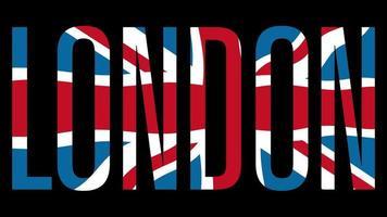 Flagge des Vereinigten Königreichs mit Typmaske im Vordergrund. London.