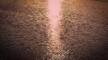 Detalle de los reflejos de la luz del sol en el lago