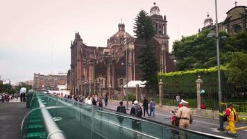 Time Lapse Of People Walking Near Main Square And Metropolitan Cathedral