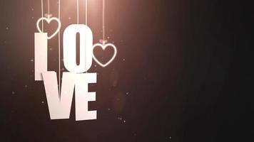 Cartas de amor colgando de una cuerda que cae del techo con fondo negro video