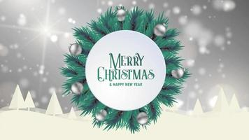 Merry Christmas greeting card animation grey bokeh background trees snow