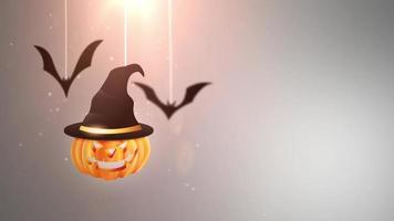 animação de fundo cinza do halloween com abóbora e morcegos caindo e pendurados em cordas