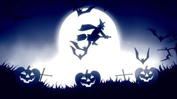 Halloween background animation with the concept of Spooky Pumpkins, Moon and Bats with blue background