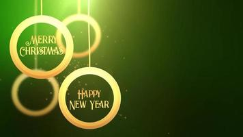 Golden moving bauble ball falling down Merry Christmas Happy New year festive seasonal celebration placeholder green background