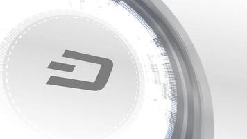 dash cryptocurrencyicon animación blanco elementos digitales tecnología fondo
