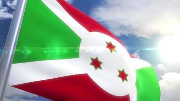 Waving flag of Burundi Animation