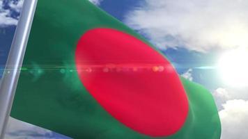 Waving flag of Bangladesh Animation