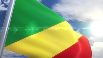 Waving flag of Republic of the Congo Animation