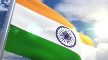 Waving flag of India Animation
