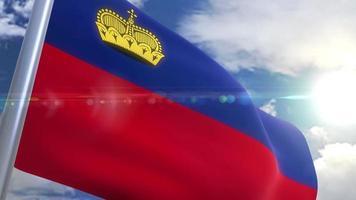 Waving flag of Liechtenstein Animation