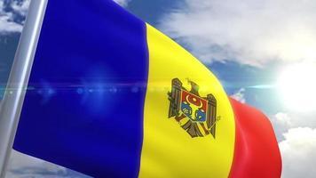 Waving flag of Moldova Animation