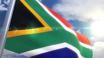 Ondeando la bandera de Sudáfrica animación