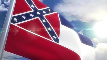 agitando bandeira do estado do mississippi eua