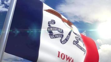 agitando bandeira do estado de iowa eua