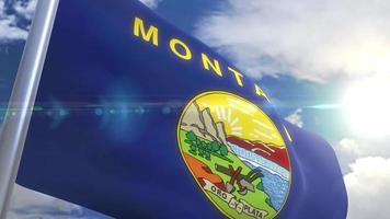 agitando bandeira do estado da montana eua