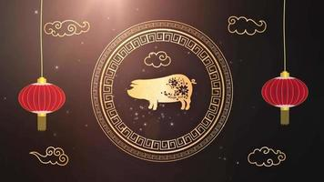 signo do zodíaco chinês do ano novo de 2019 - plano de fundo do ano do porco video