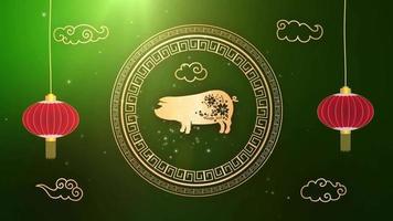 ano novo chinês de 2019, ano de fundo do signo do zodíaco do porco video